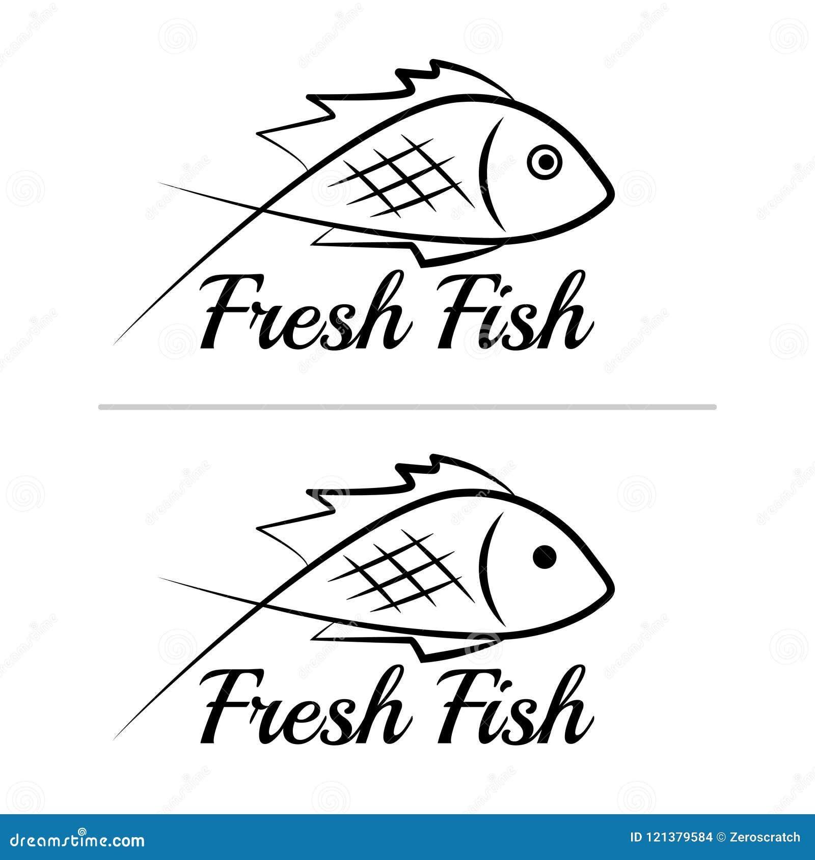 Fresh fish logo symbol icon sign simple black colored set