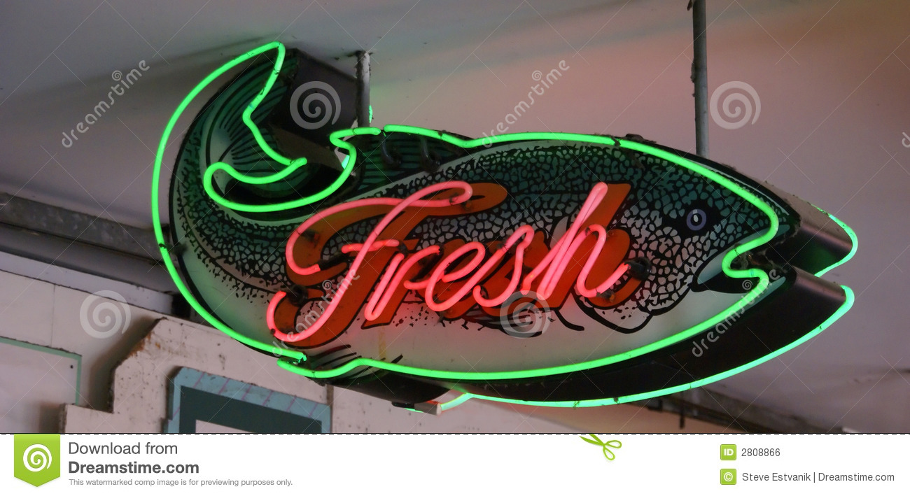 Fresh fish neon sign royalty free stock image image 2808866 for Fish neon sign