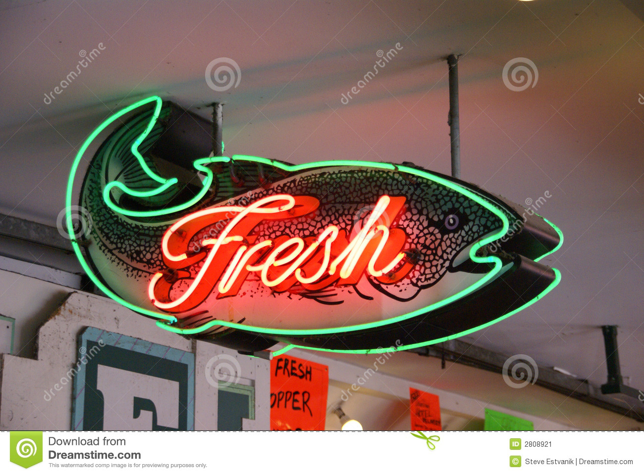 Fresh fish neon sign stock image image of crab fresh for Fish neon sign