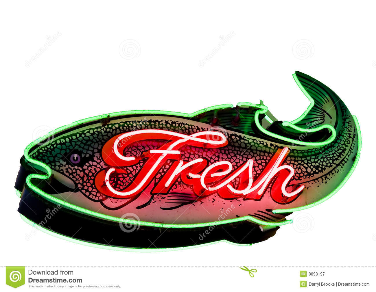 Sign for a fresh fish market stock image cartoondealer for Fish neon sign