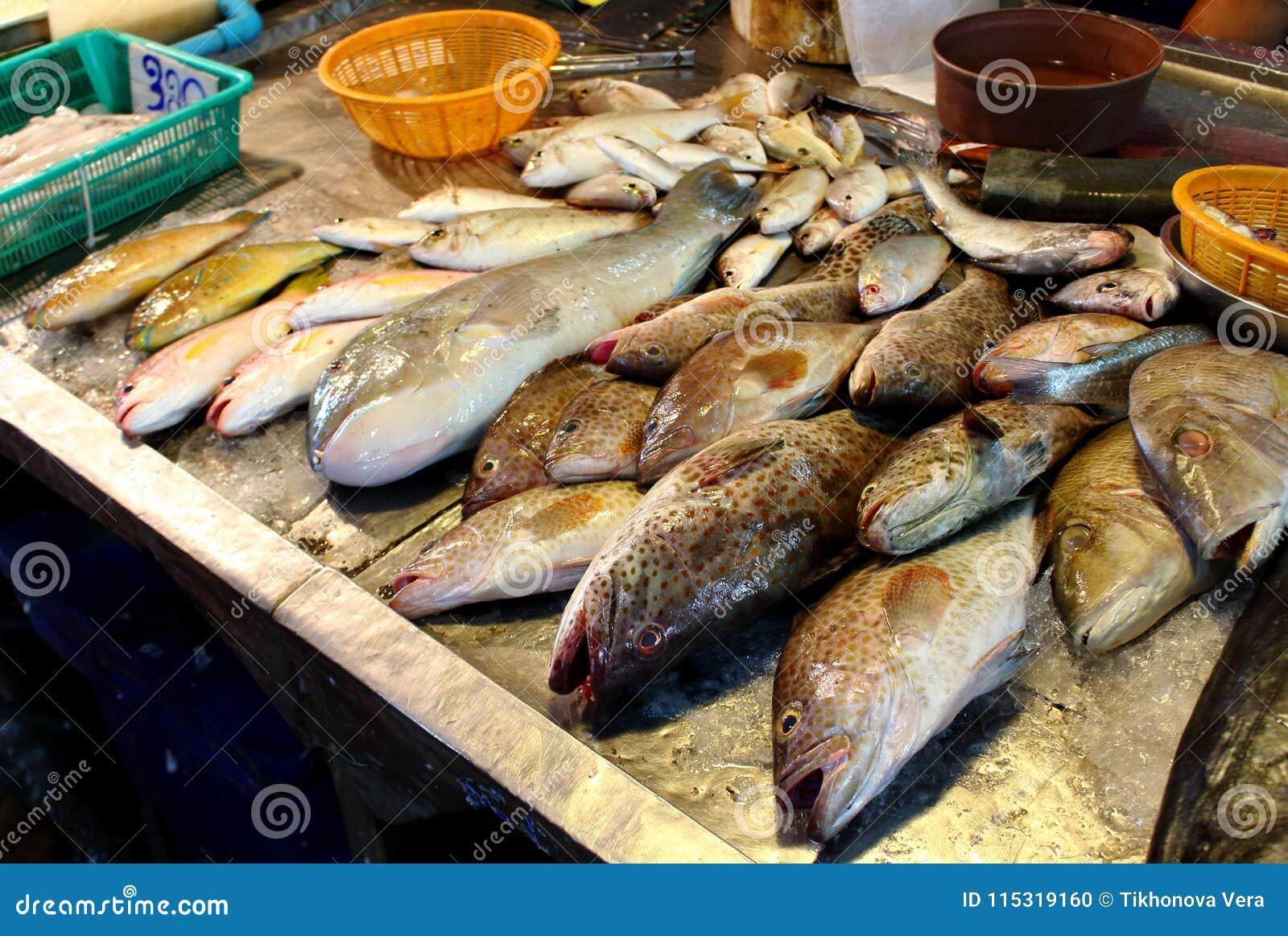Fresh fish on seafood market
