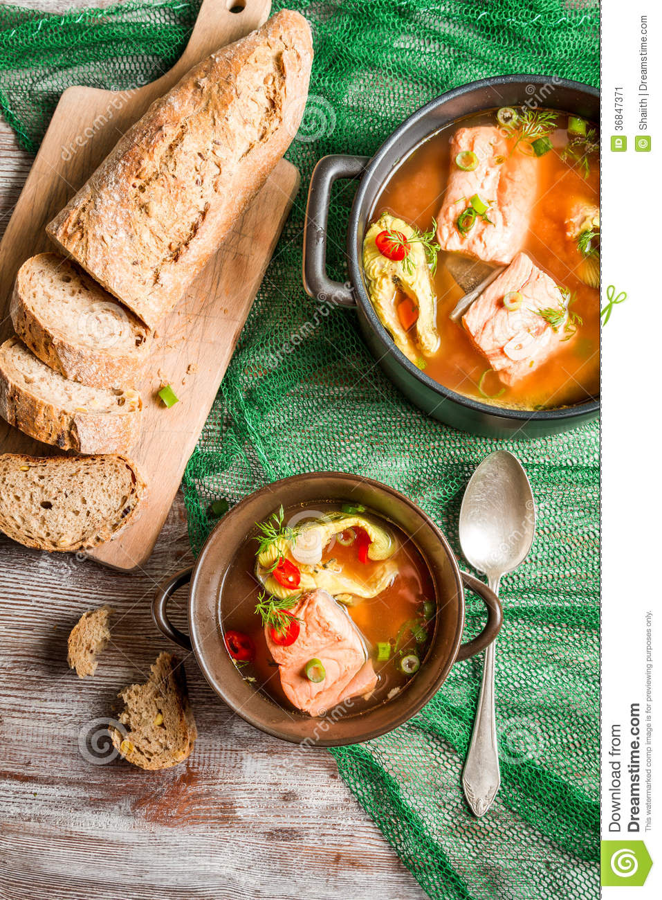 Fresh fish soup served with bread stock image image for Fishing with bread