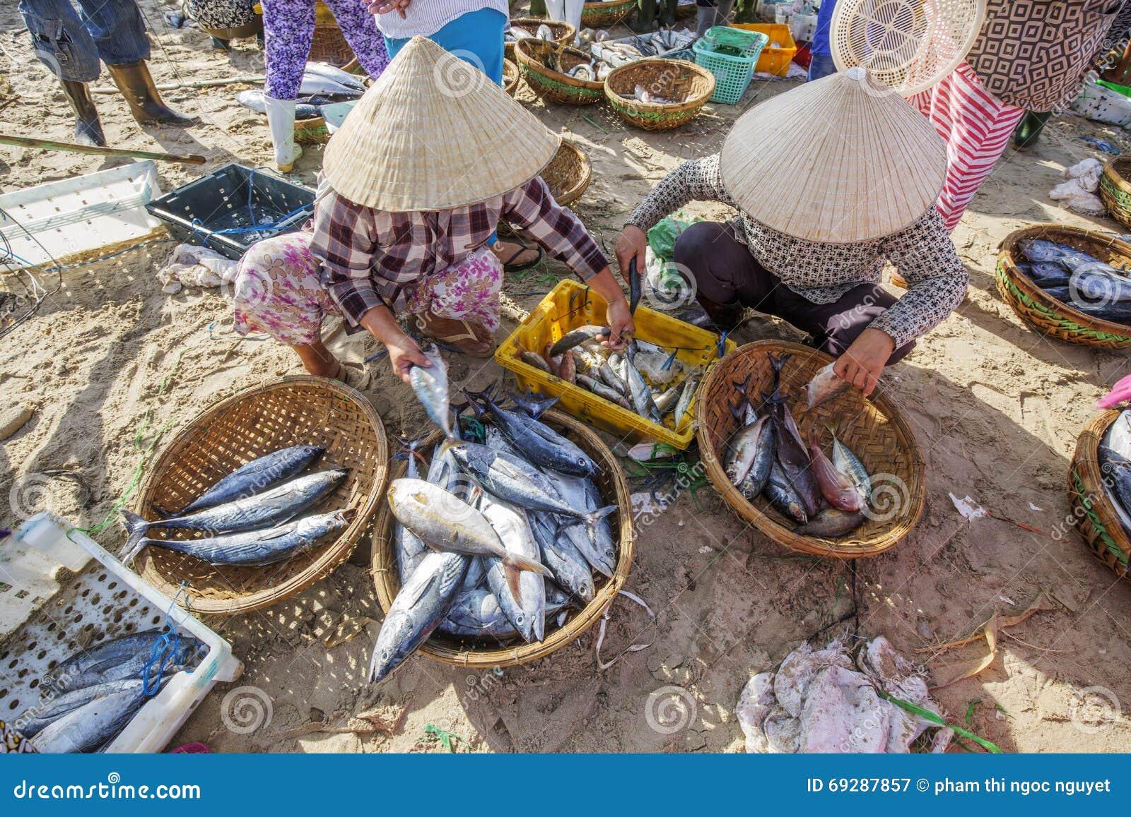 Fresh fish and tuna in basket at long hai fish market for Closest fish market