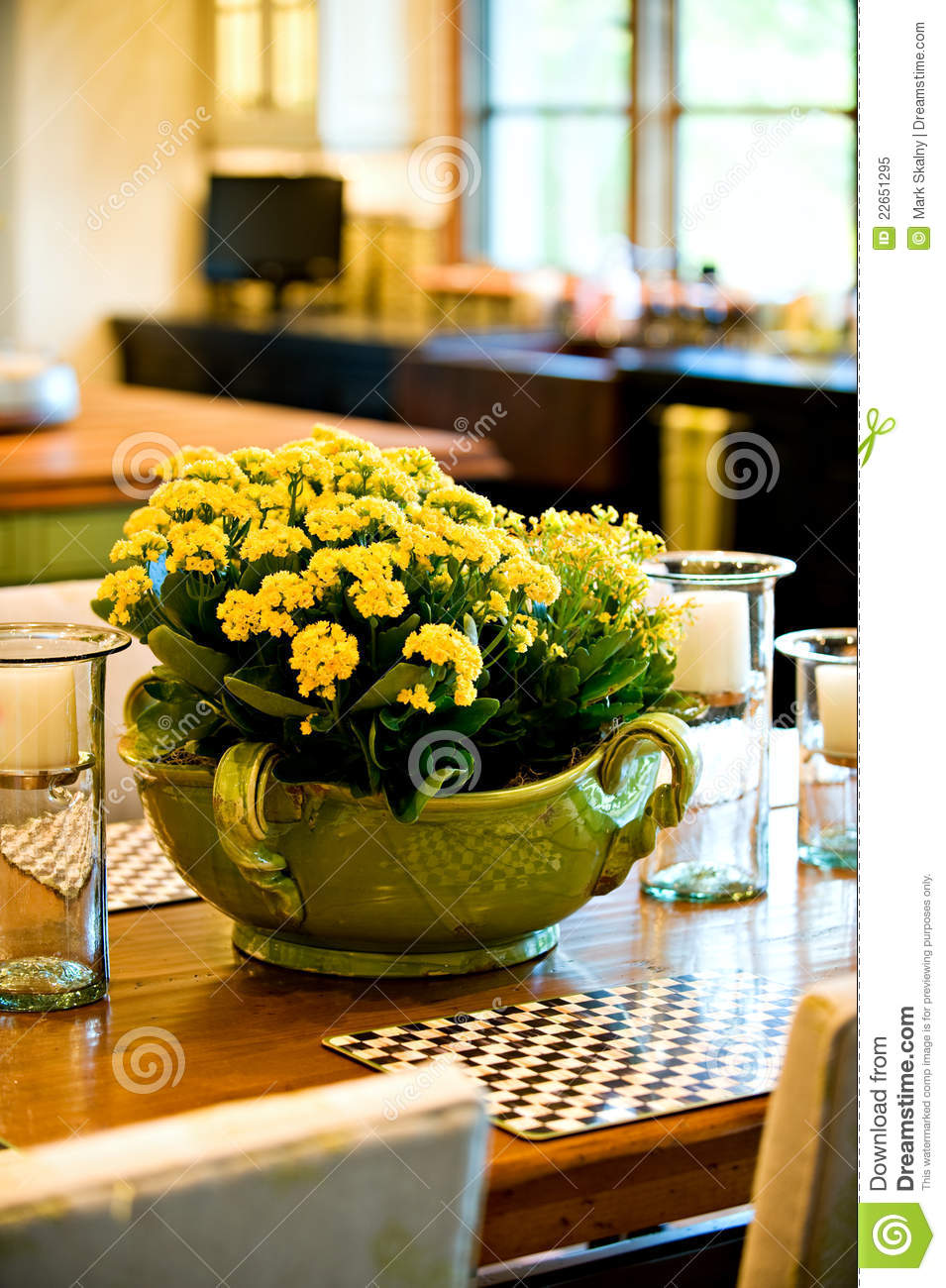 Fresh flower arrangement on the dining room table royalty for Dinner table flower arrangements