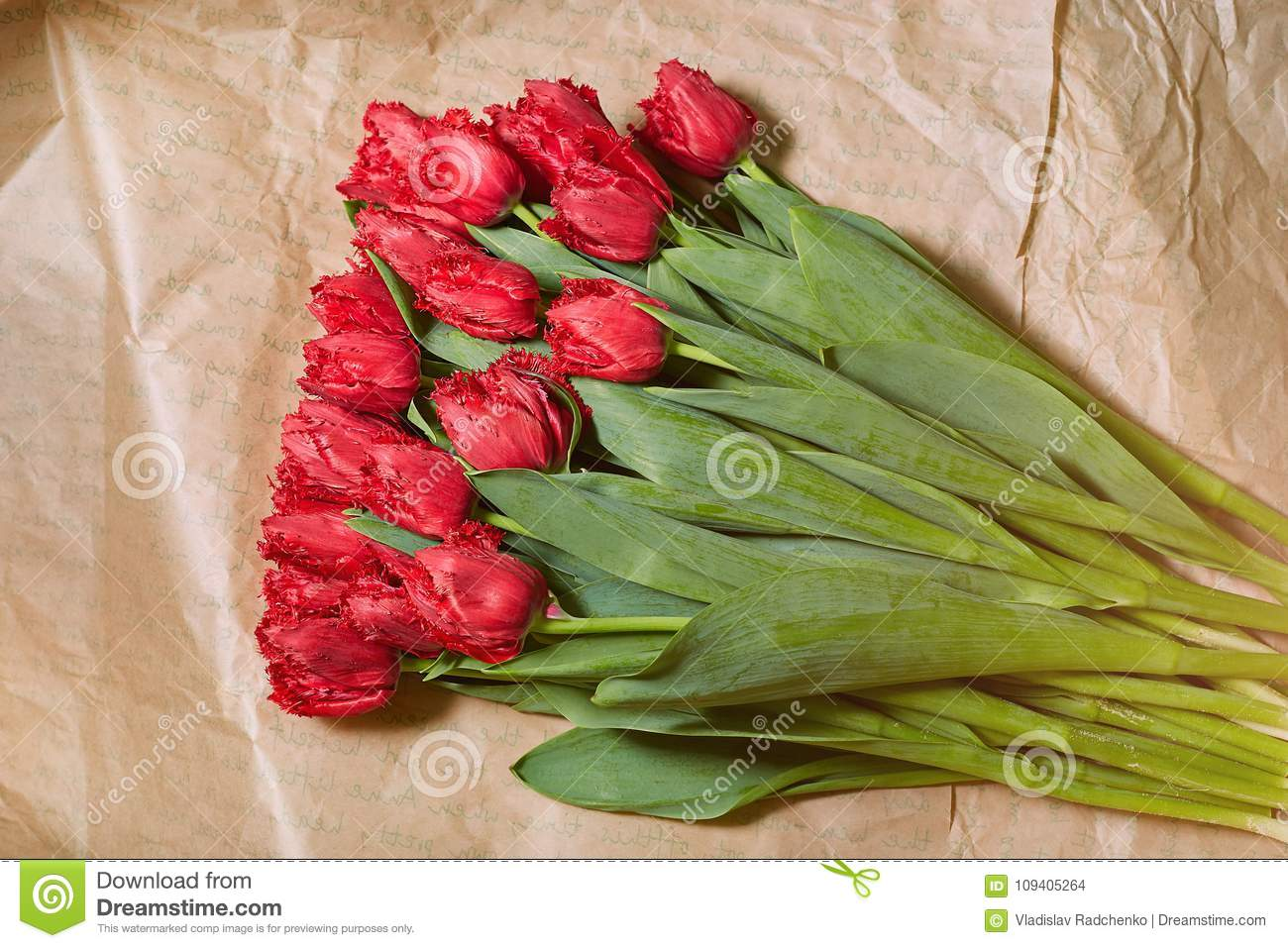 Fresh Flower Composition Bouquet Red Tulips On Craft Paper