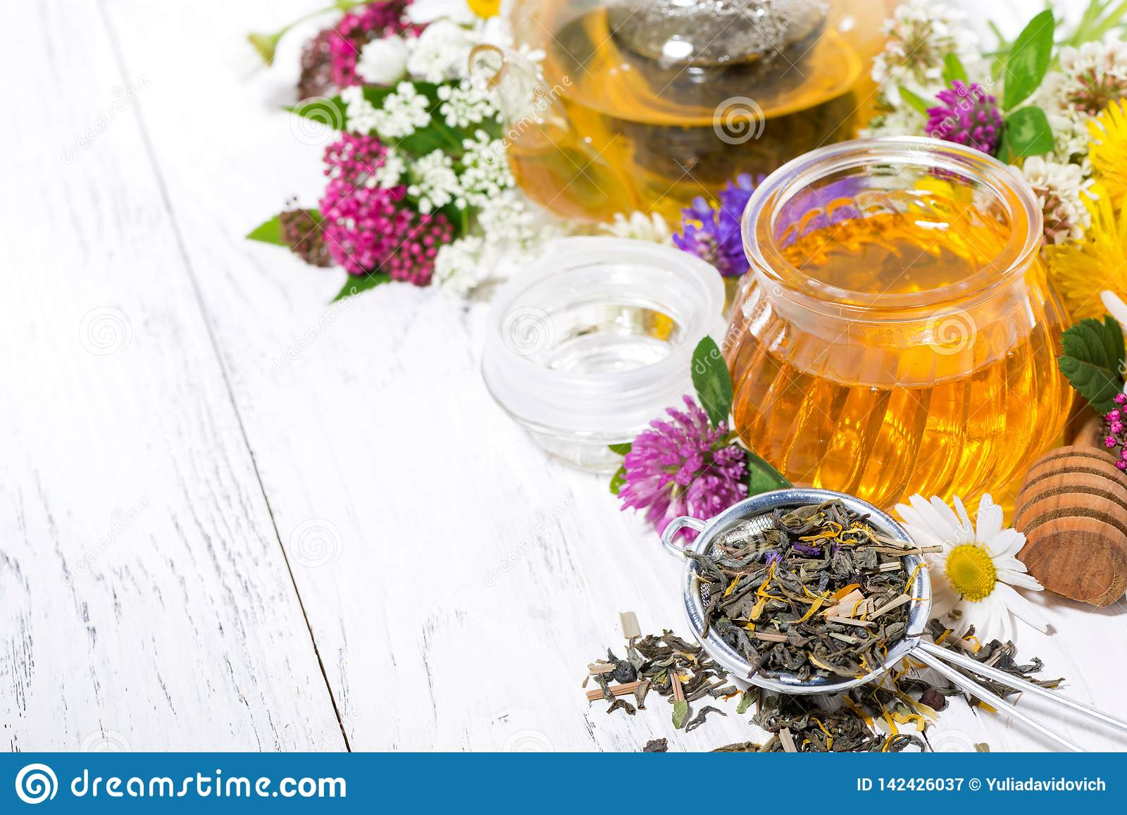Fresh flower honey, tea and ingredients on white background, top view