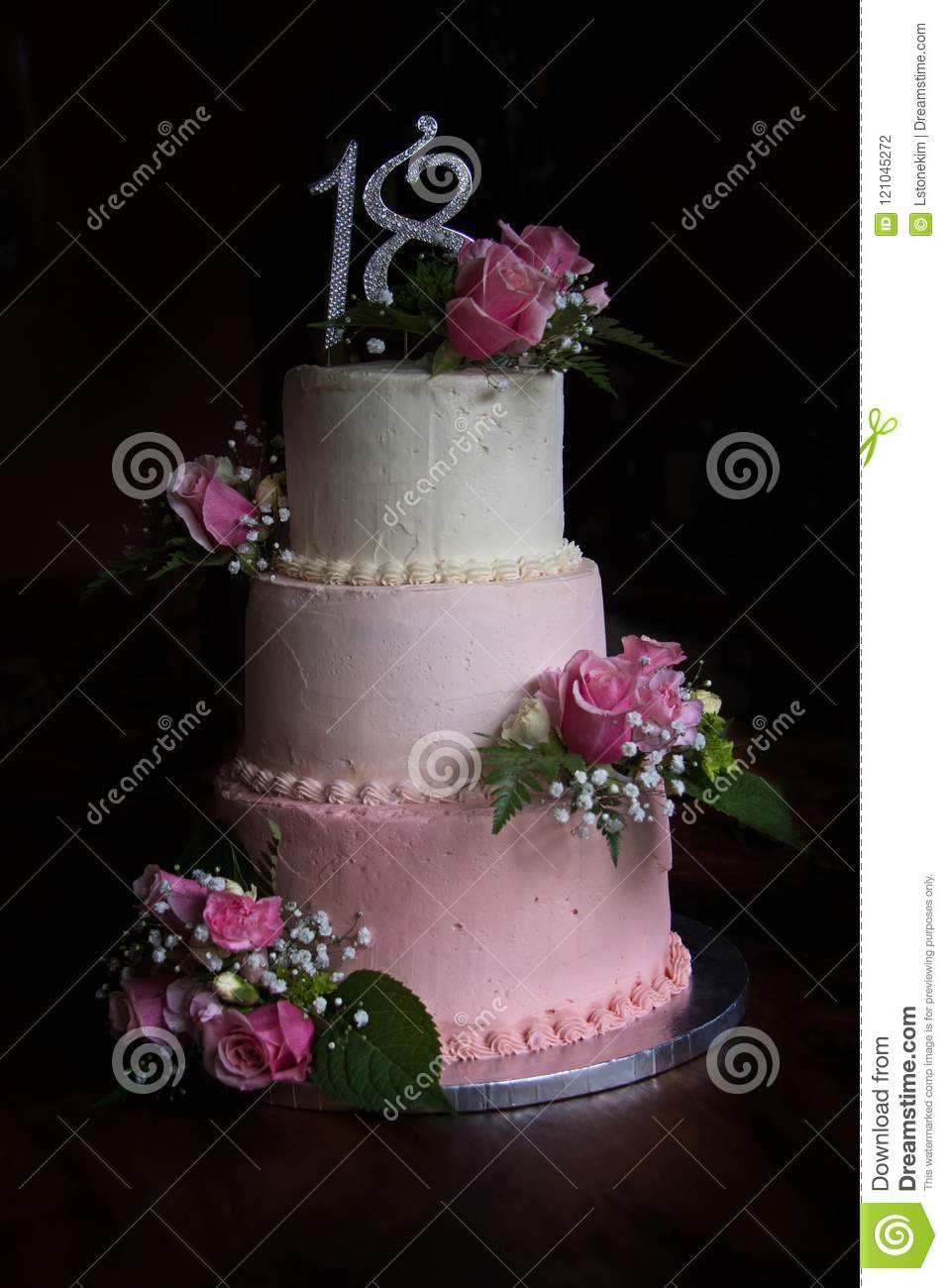 Beautiful Three Tier Shades Of Pink Birthday Cake With Fresh Flowers To Celebrate Special 18th