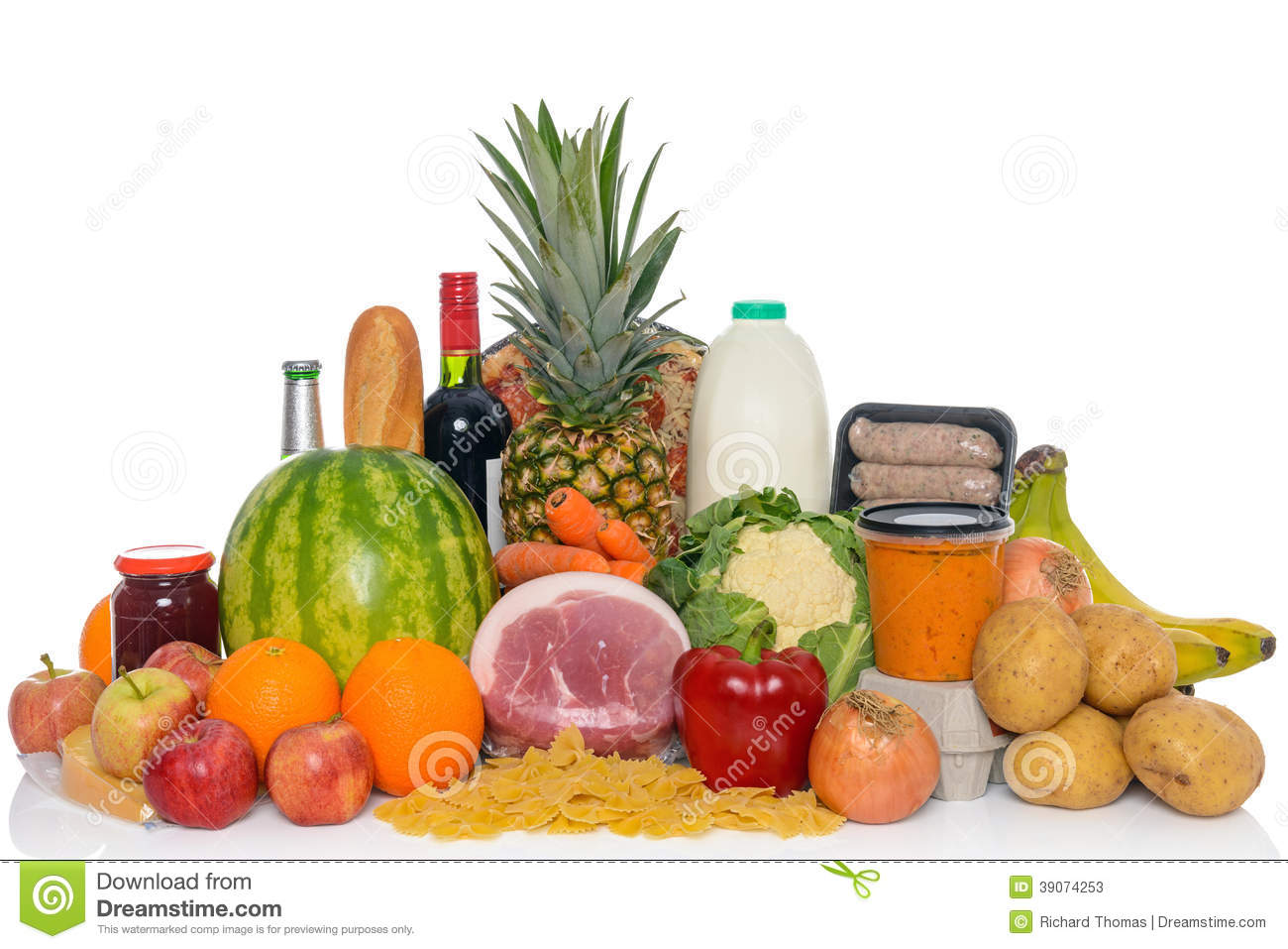 Fresh Food Arrangement Of Groceries Isolated Stock Photo ...