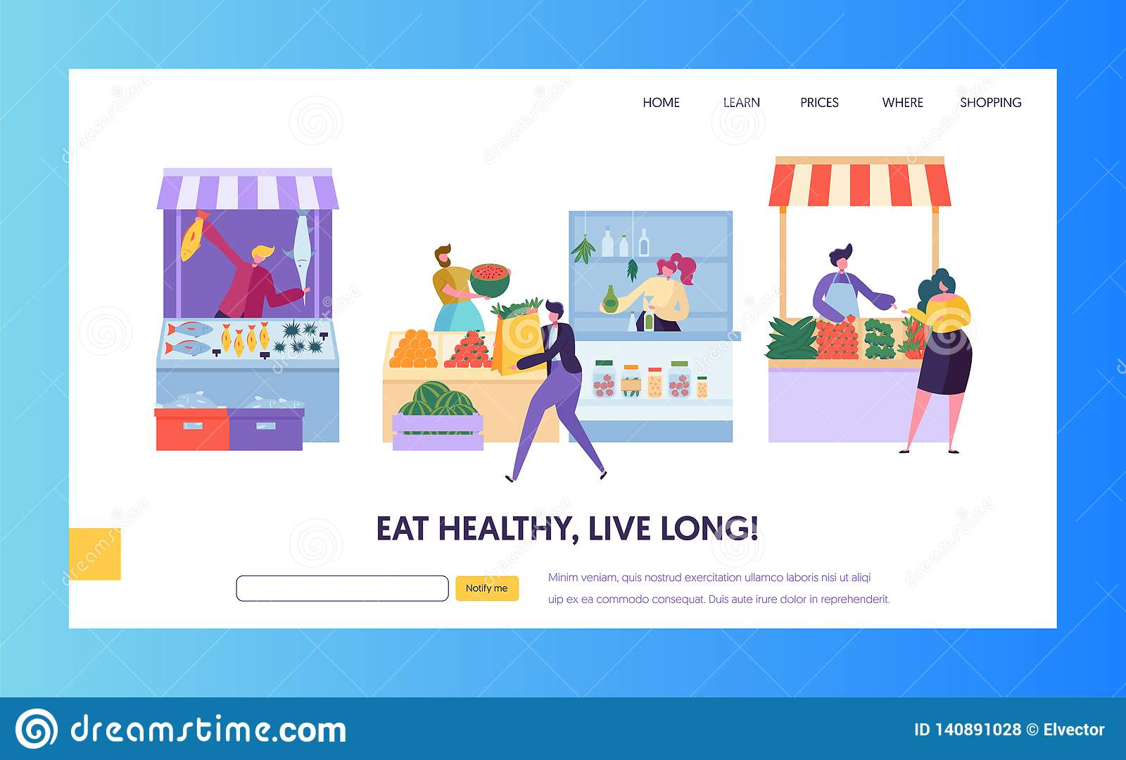 Fresh Food Farmer Organic Market Concept Landing Page. Man Customer Character Choose Vegetable Fruit Fish Seafood Website