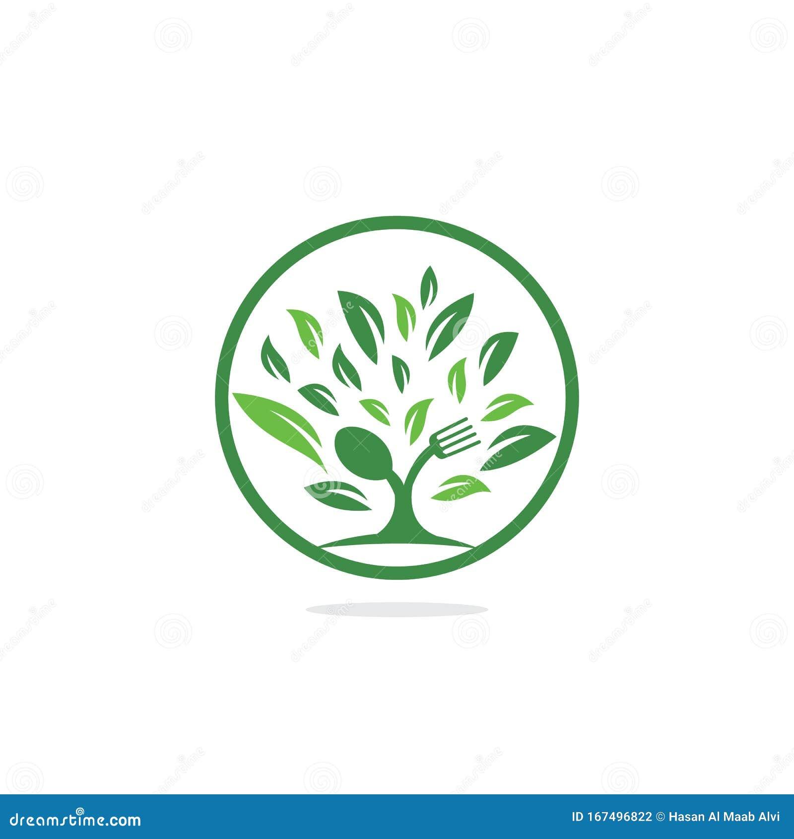 Fork And Spoon Tree Logo Design For Restaurant Or Cafe Stock Vector Illustration Of Branding Logo 167496822