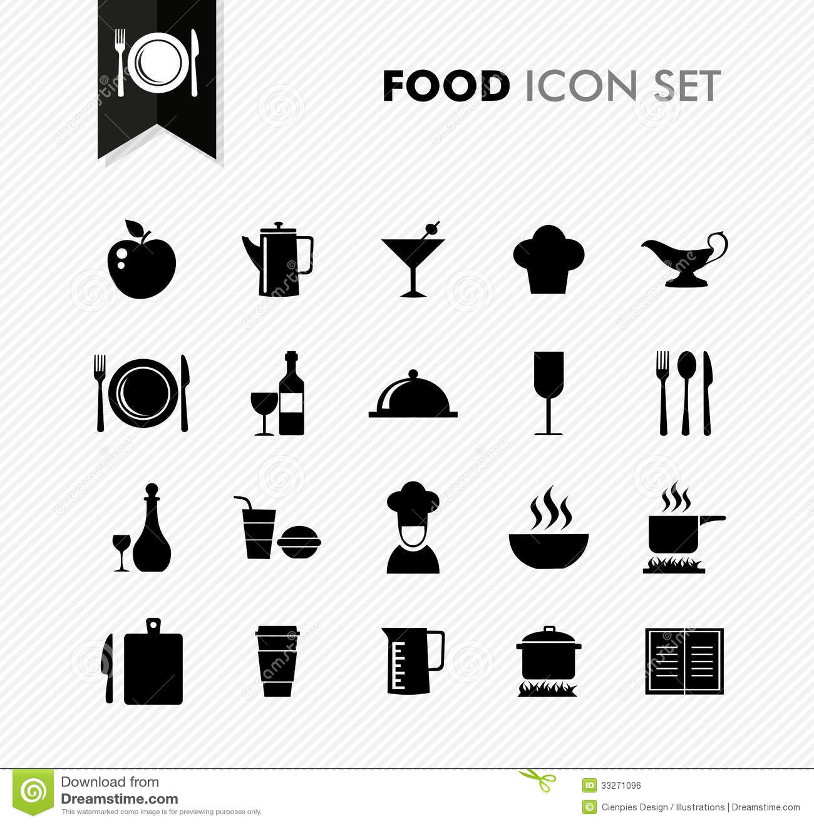 fresh food restaurant menu icon set stock vector illustration of