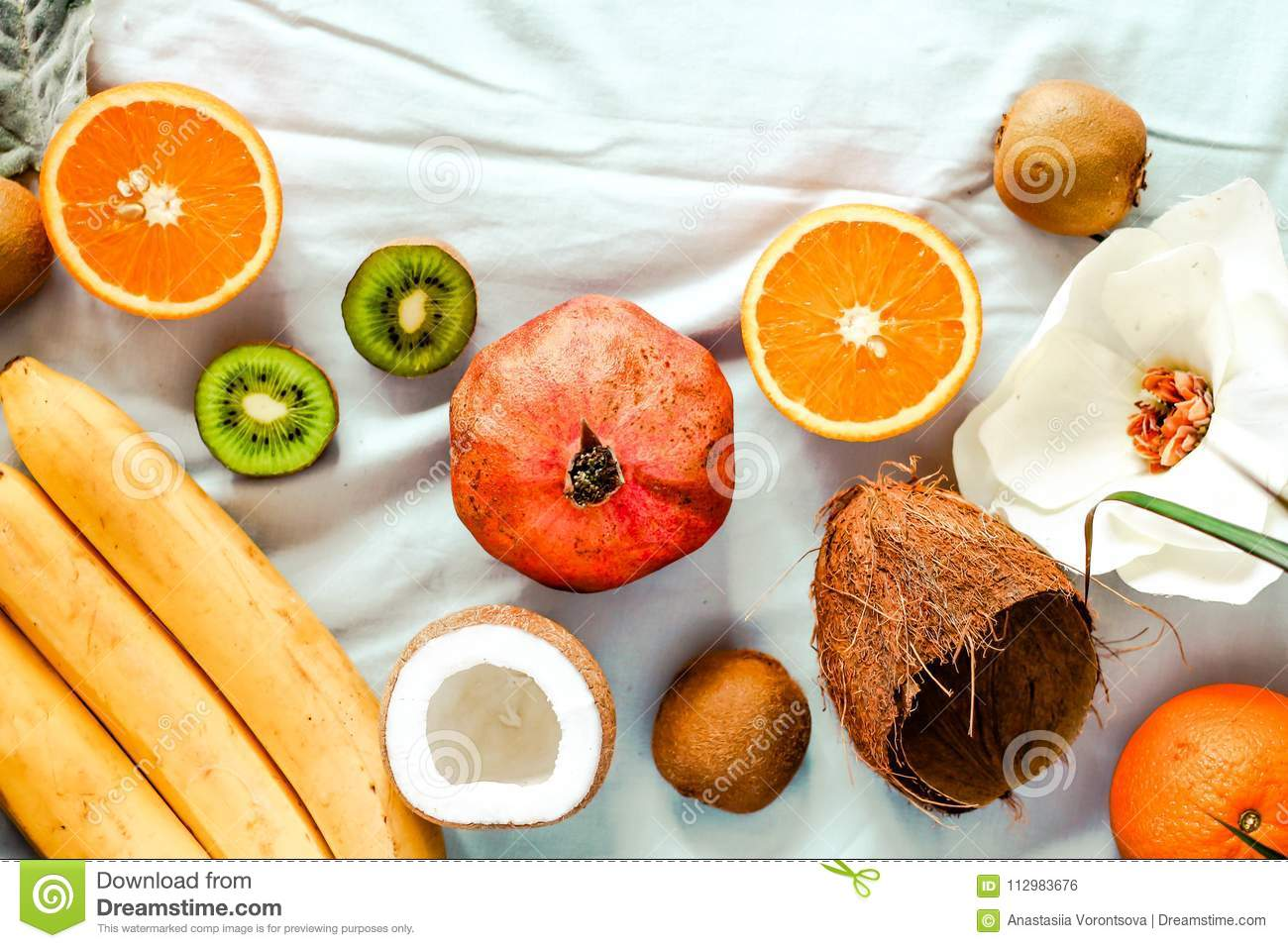 Fresh fruit background. Healthy eating and dieting concept. Winter assortment. Top view