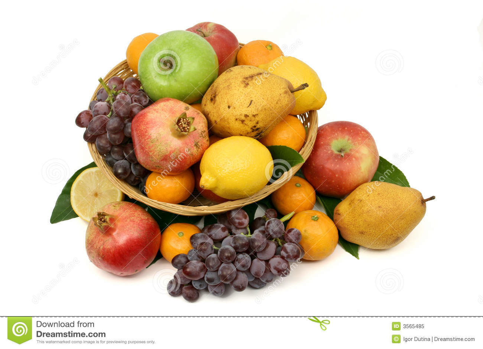 Fresh Fruit Basket Royalty Free Stock Photo Image 3565485