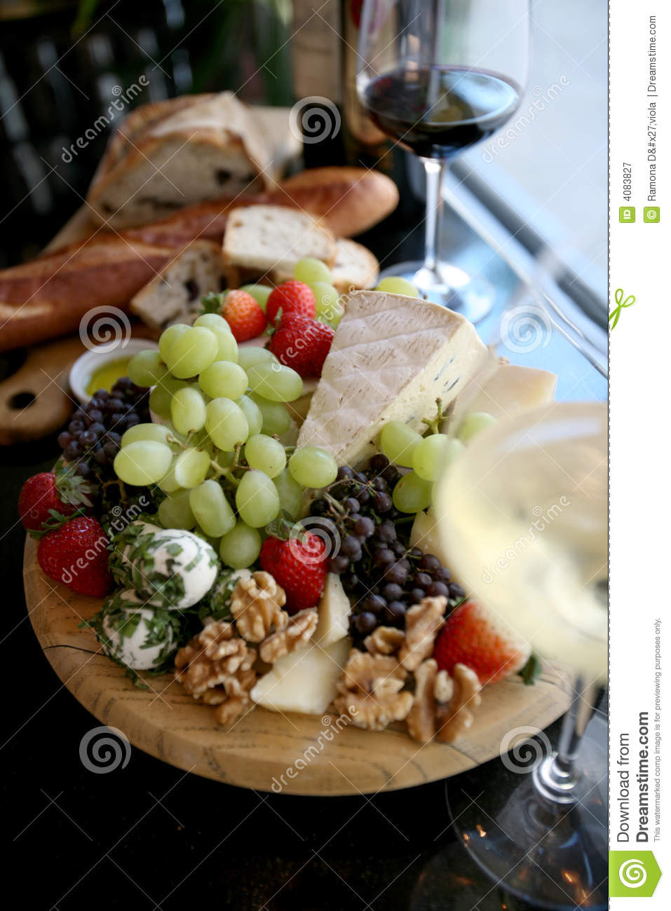 Fresh Fruit And Cheese Platter Royalty Free Stock