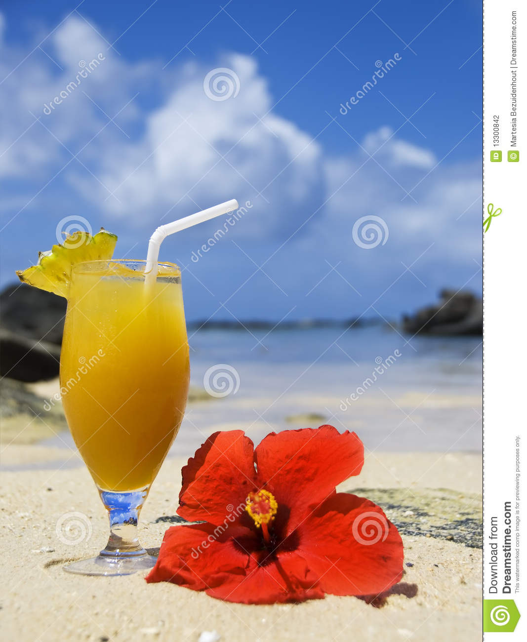8 Tropical Island Rum Cocktails: Fresh Fruit Cocktail On A Tropical Island Stock Photo