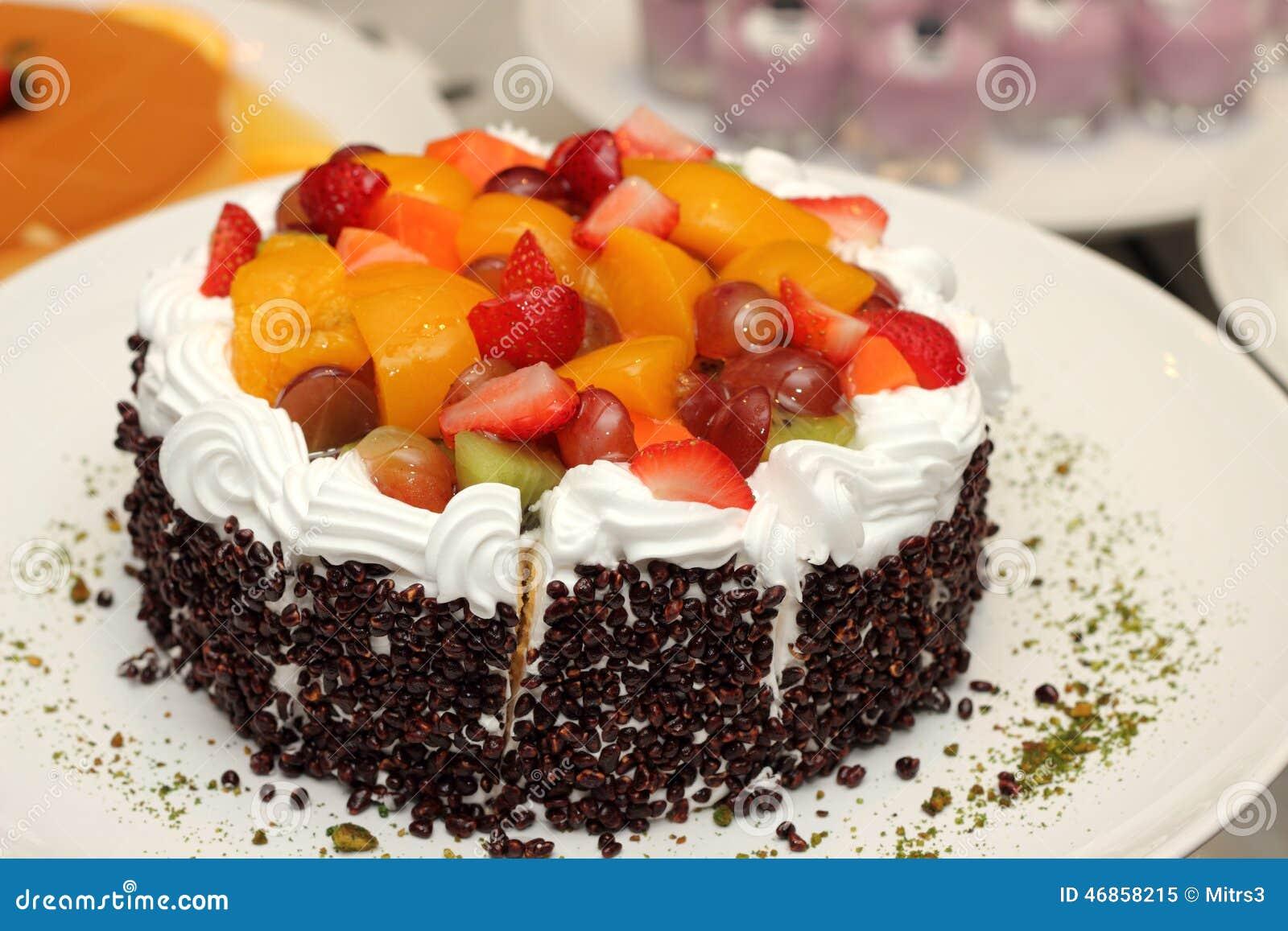 Fresh Fruit Flan Cake With Cream Stock Photo - Image: 46858215