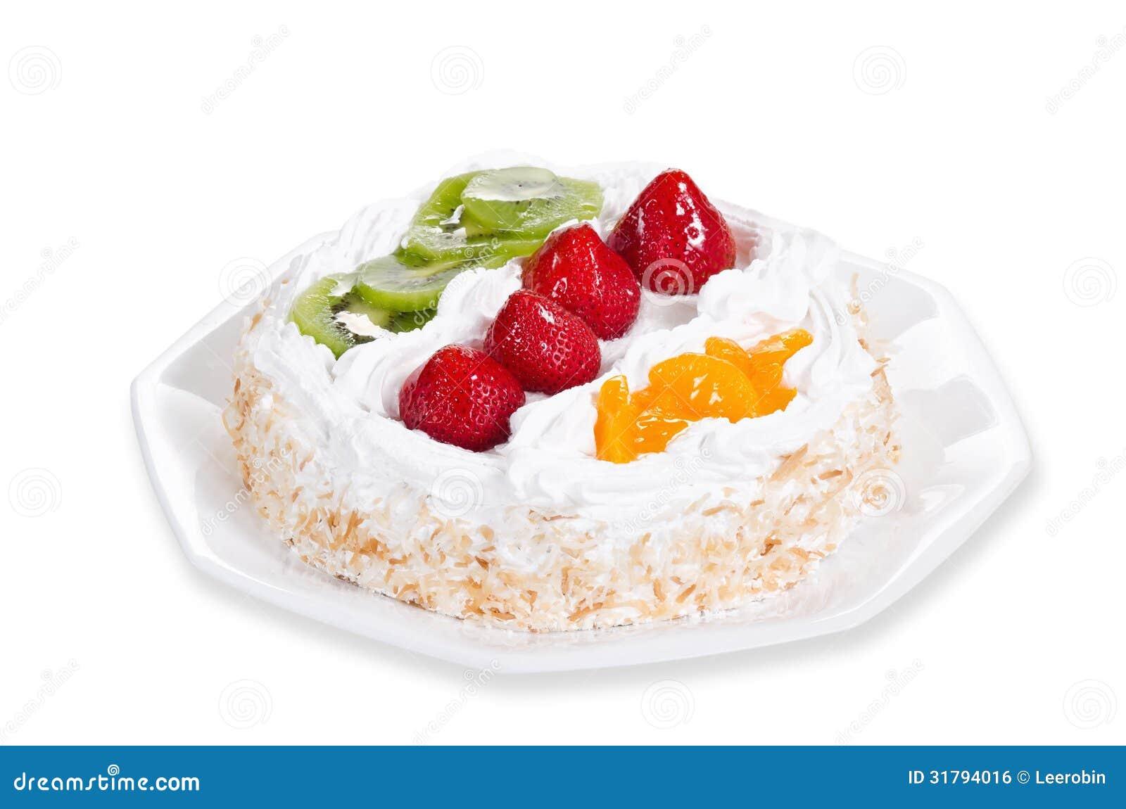 Fresh fruit flan cake stock photo. Image of food, white ...