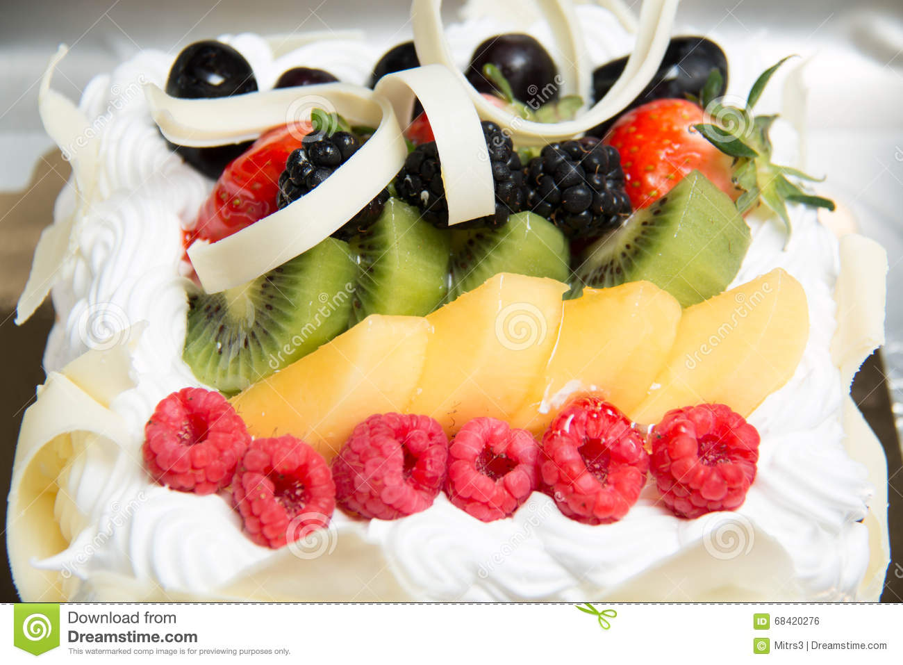 Fresh fruit flan cake stock photo. Image of celebration ...