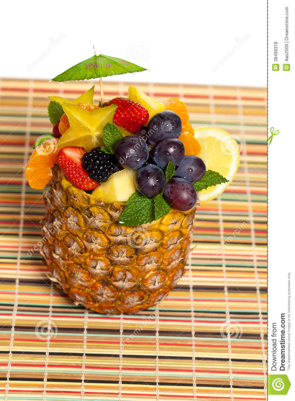 Fresh Fruit Salad In A Pineapple Stock Photo Image Of Decoration