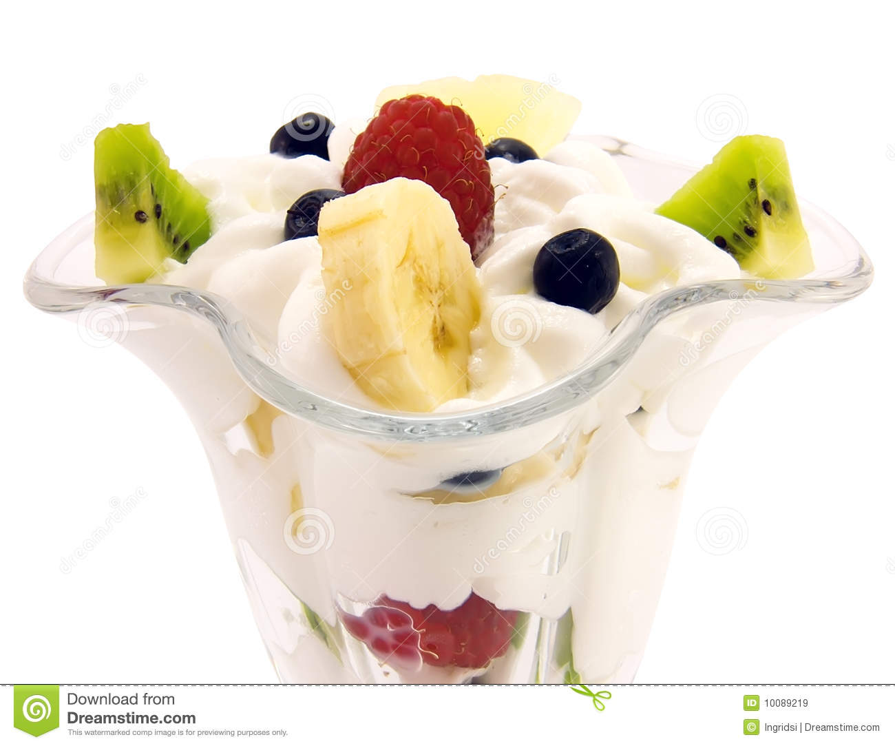 Fresh Fruit Salad With Whipped Cream Royalty Free Stock ...
