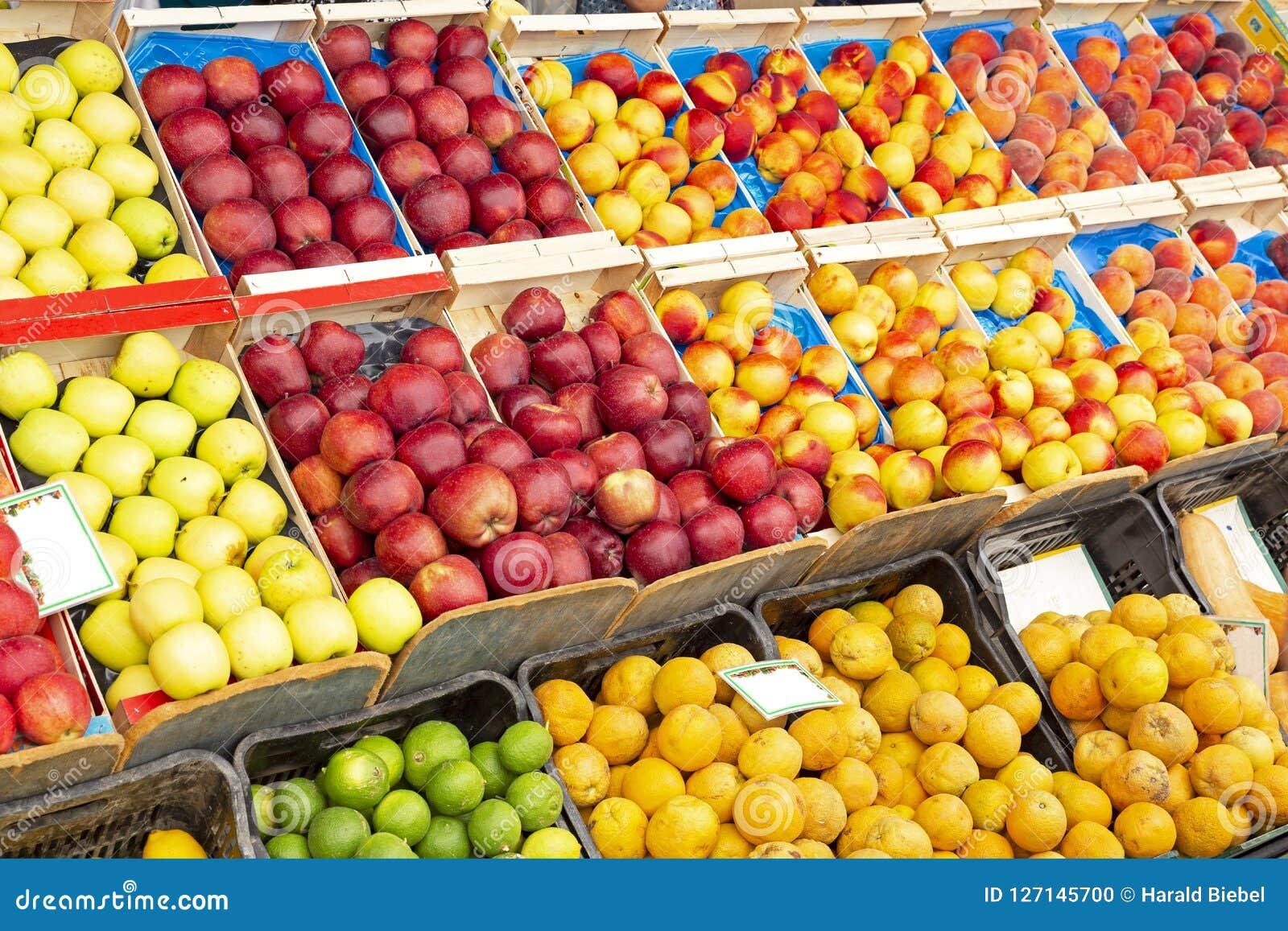 Fresh Fruit For Sale On A Fruit Market Stock Photo - Image