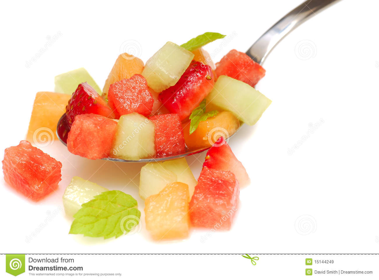 Fresh fruit salsa containing watermelon, orange, cantaloupe ...