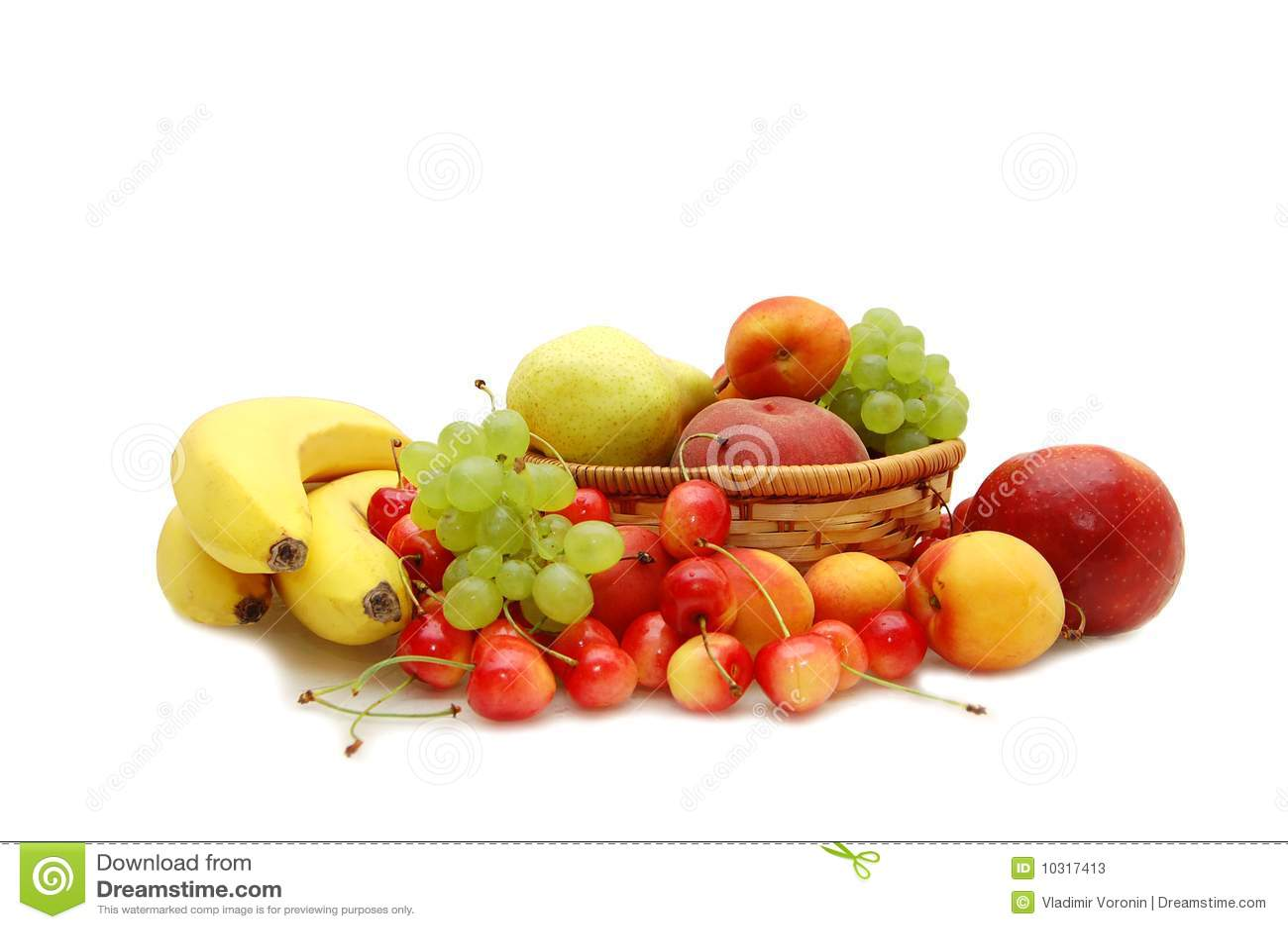 Fresh Fruit In A Wattled Basket Stock Photos Image 10317413