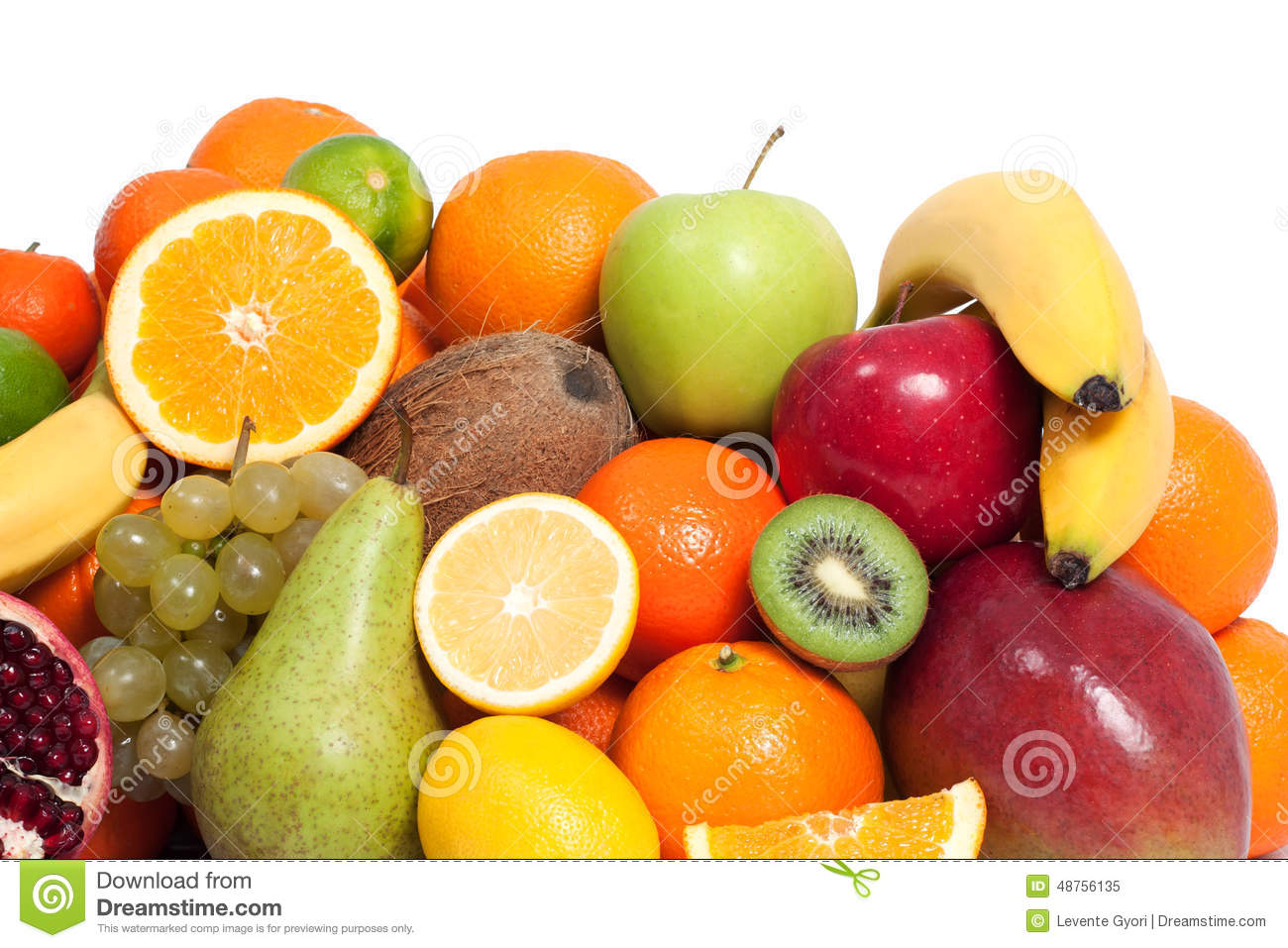 Fresh fruit in a white background