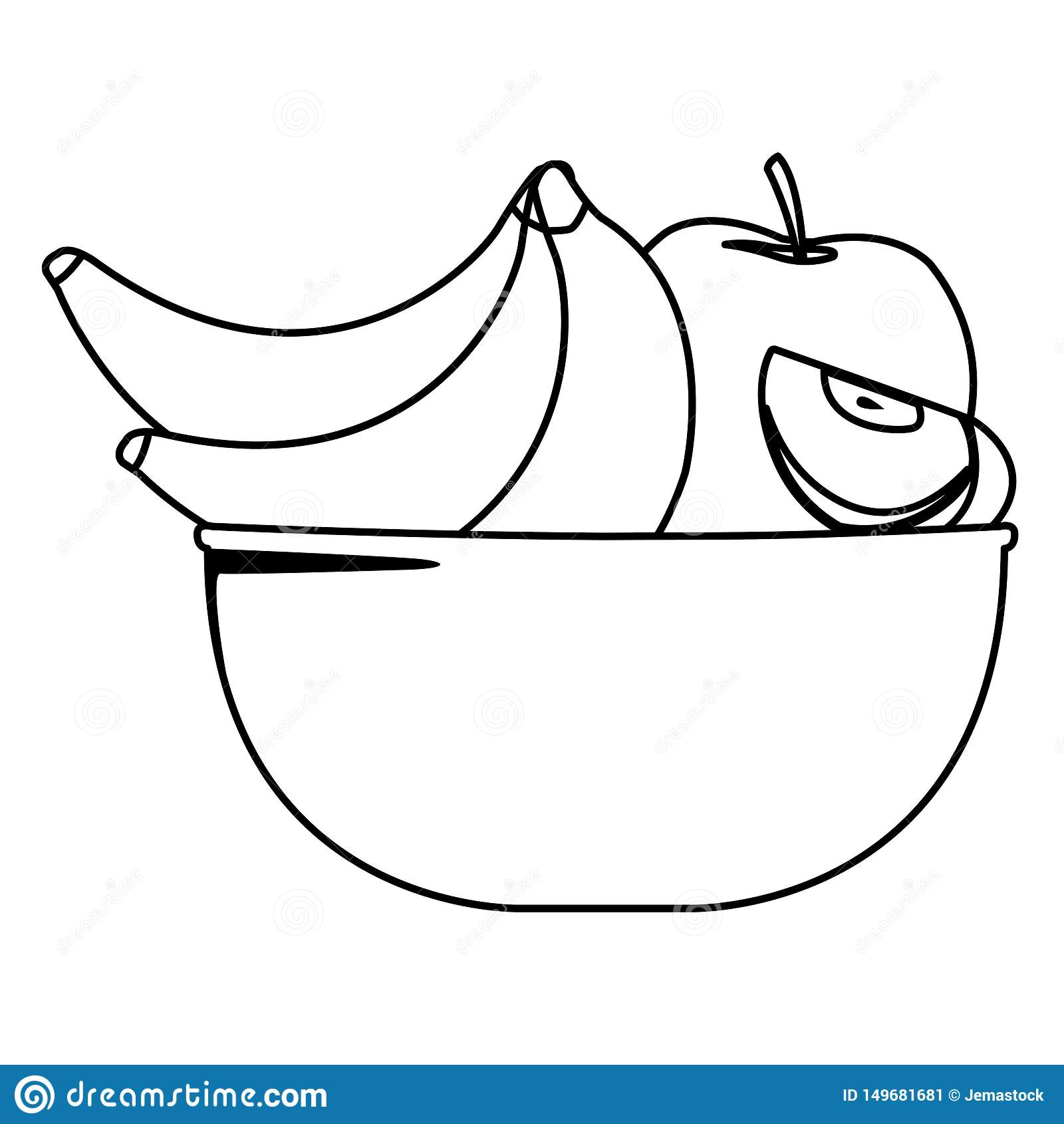 fresh fruits in bowl cartoon in black and white stock vector illustration of bowl sweet 149681681 https www dreamstime com fresh fruits bowl cartoon black white bananas apples vector illustration graphic design image149681681