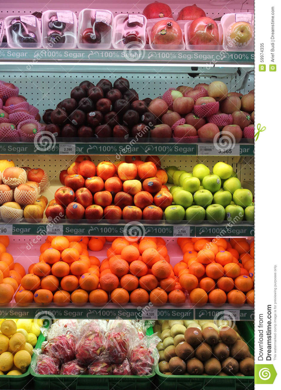 Fresh fruits are sold in supermarkets solo Central Java Indonesia.