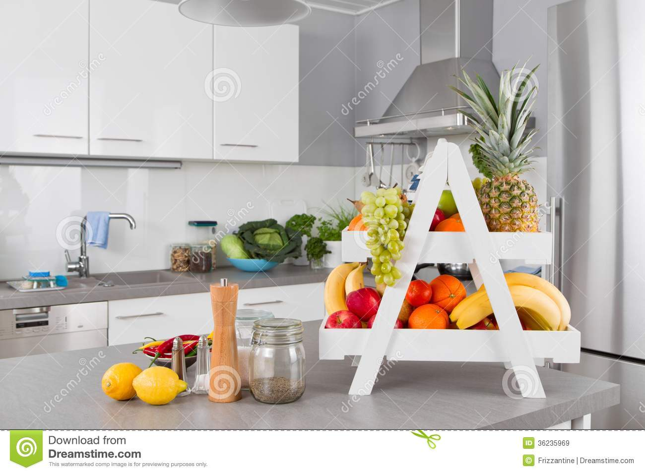 fresh fruits on table in the kitchen stock image image of rh dreamstime com