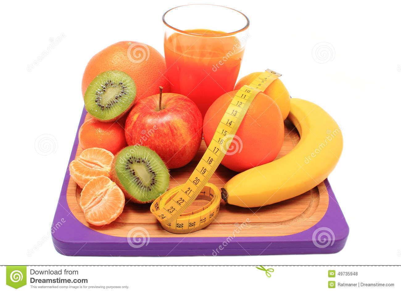 Fresh Fruits, Tape Measure And Glass Of Juice Stock Photo ...