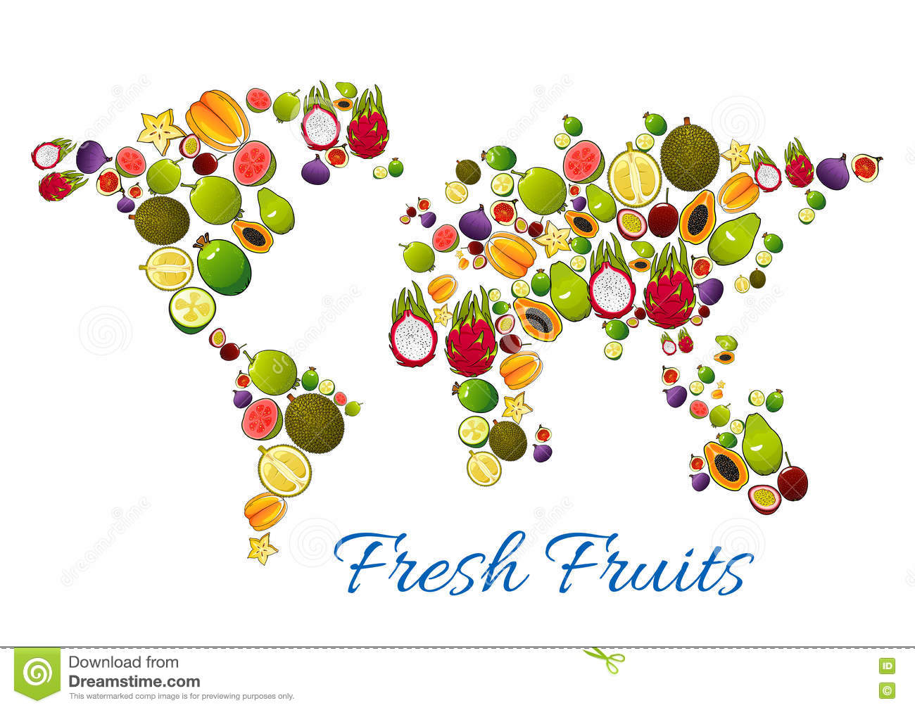 fresh fruits in vector world map stock vector   image