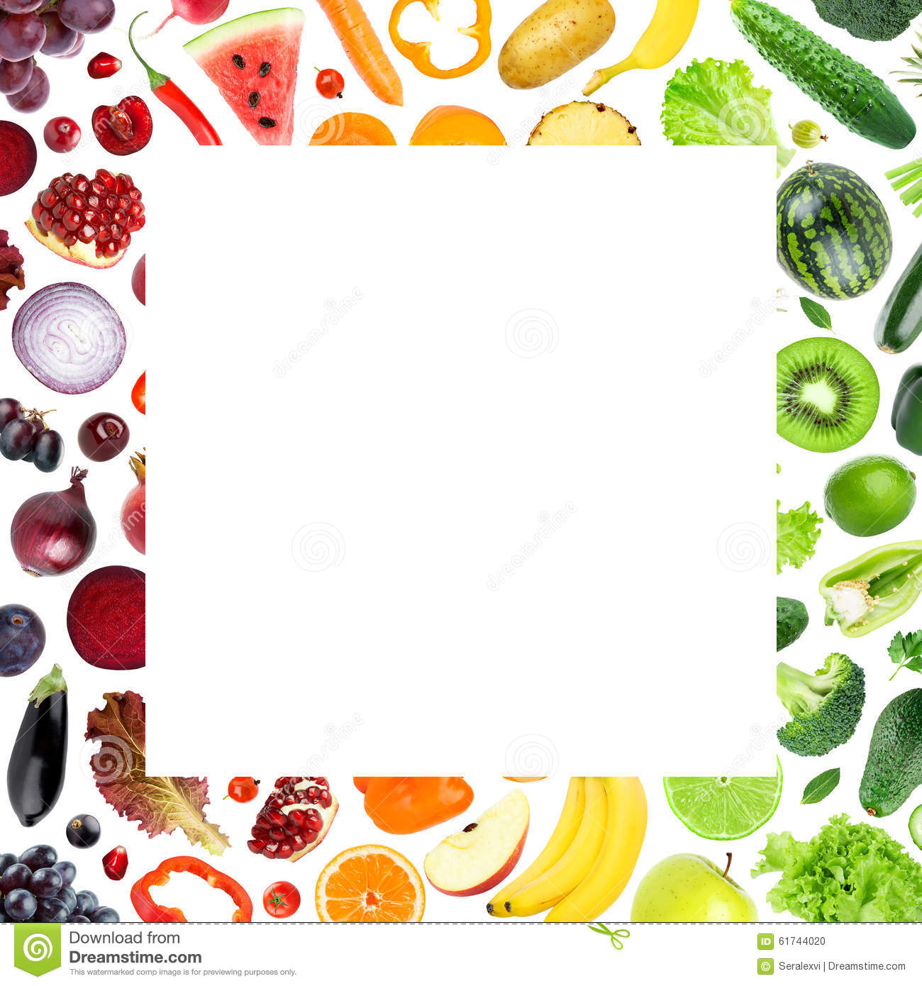 Fresh Fruits And Vegetables Frame Stock Photo Image