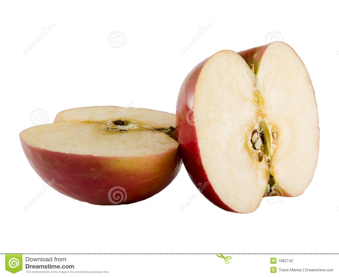 fresh fuji apple cut in half stock photography image