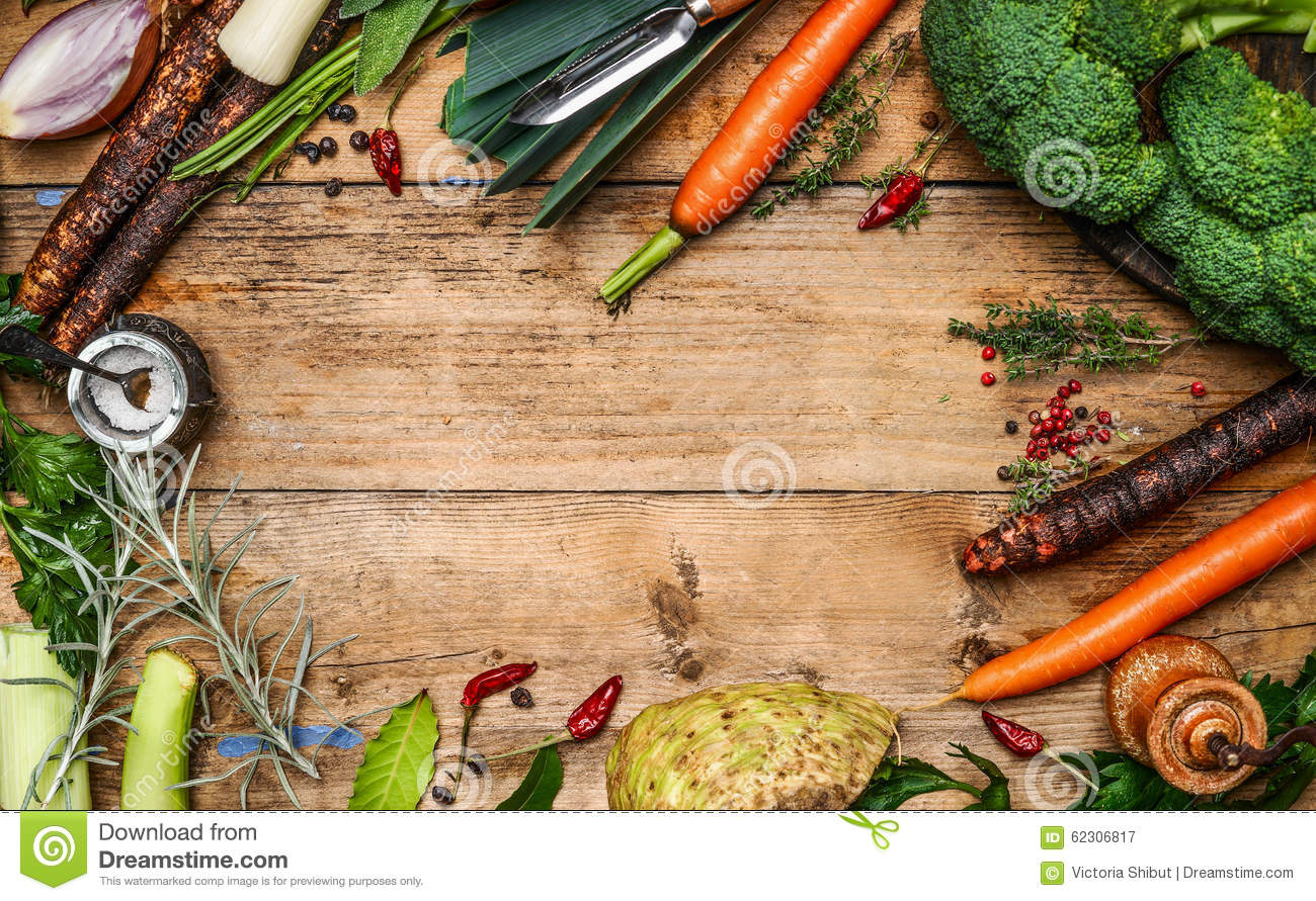 Fresh garden vegetables ingredients for broth or soup for Rustic concept