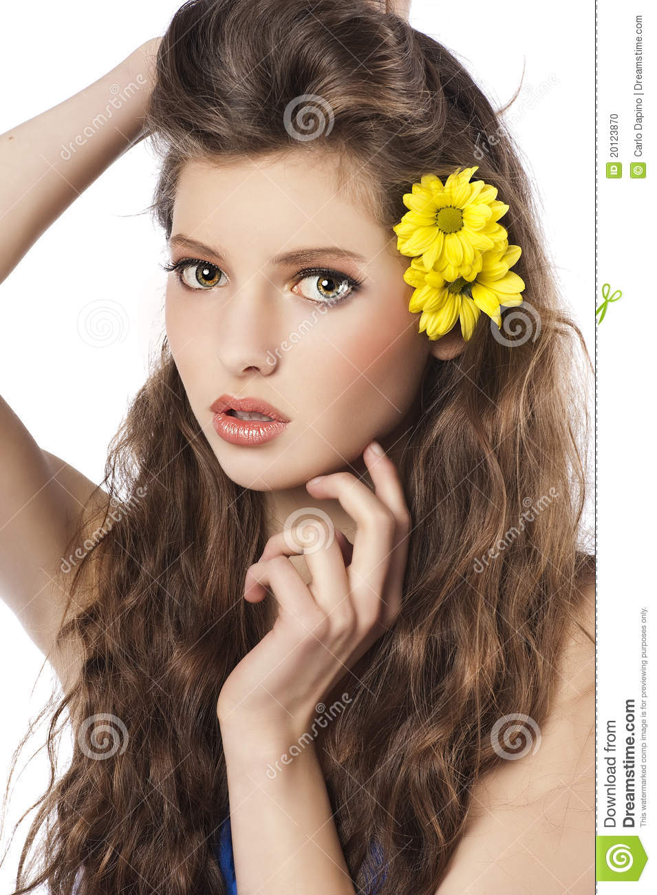 Fresh girl with yellow flower in hair stock photo image of female fresh girl with yellow flower in hair mightylinksfo
