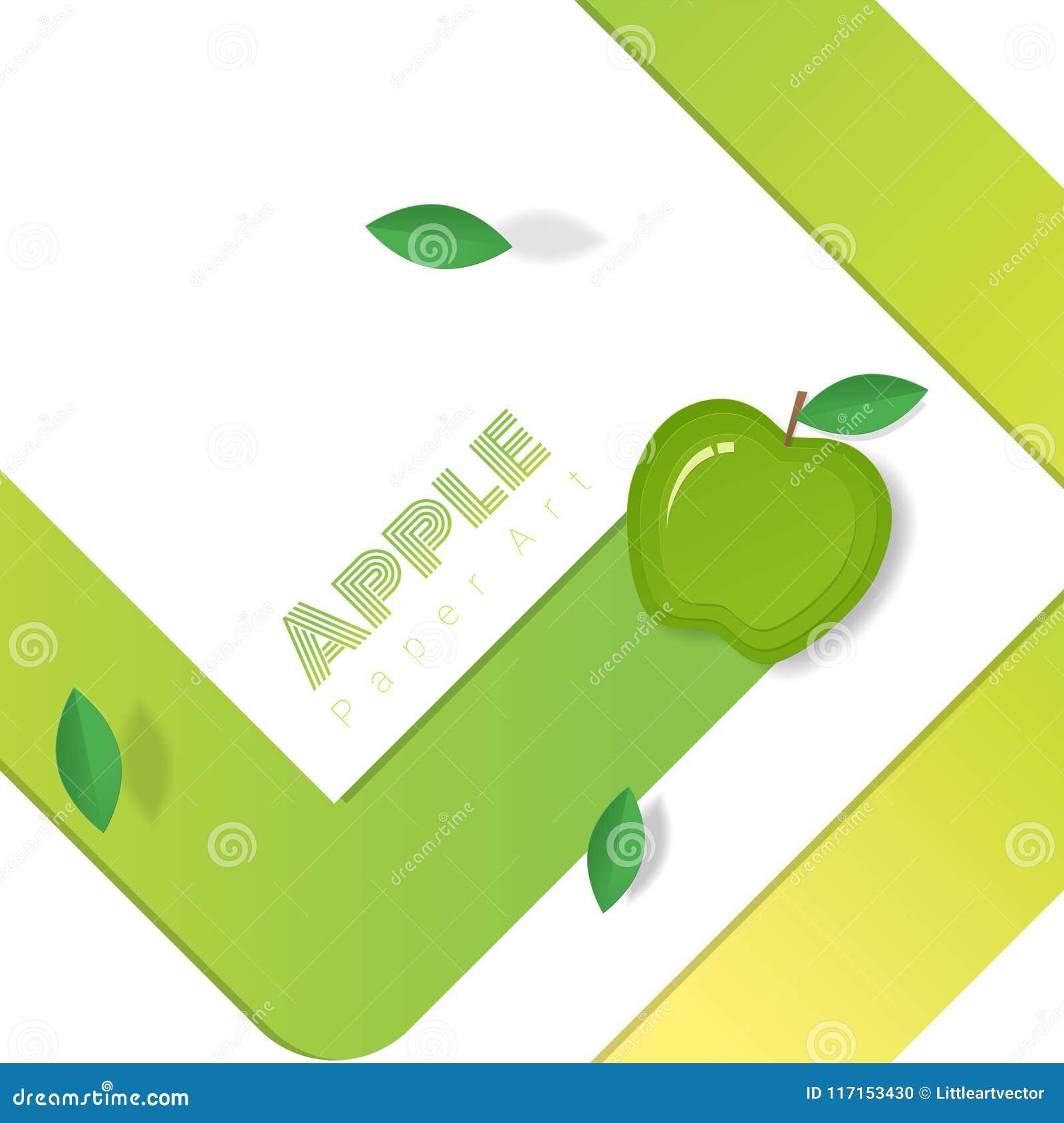 Fresh green apple fruit background in paper art style