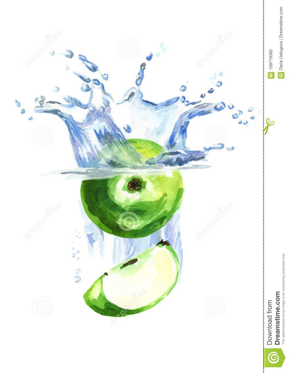 Fresh green apples falling into water isolated on white background. Watercolor hand drawn illustration