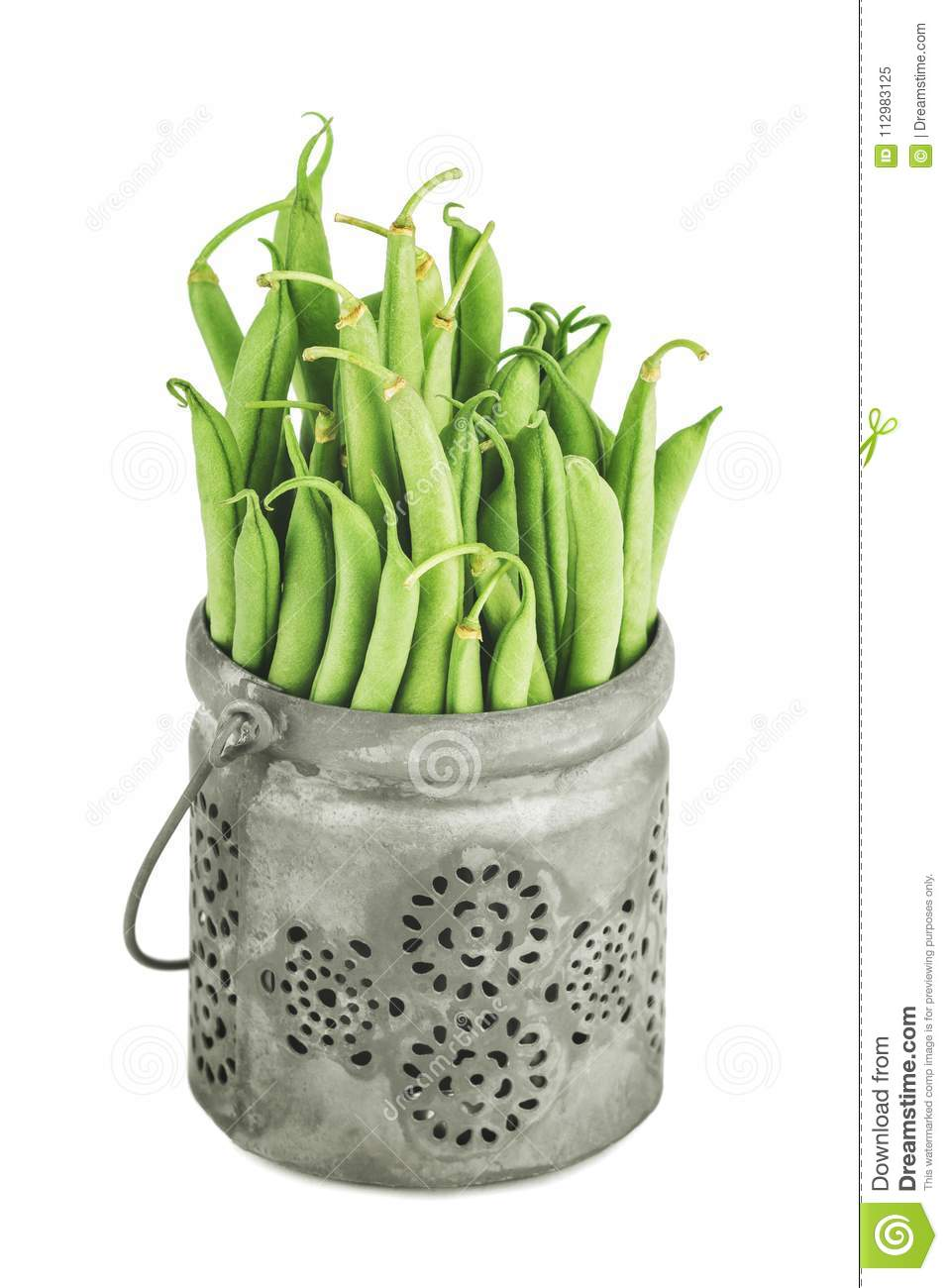 Fresh green bean in the pot on white background