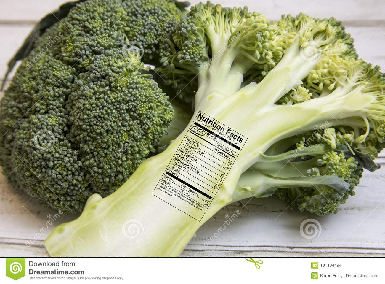 Fresh Green Broccoli Spears With Nutrition Facts Label Stock Photo Image Of Spear Broccoli 101134494