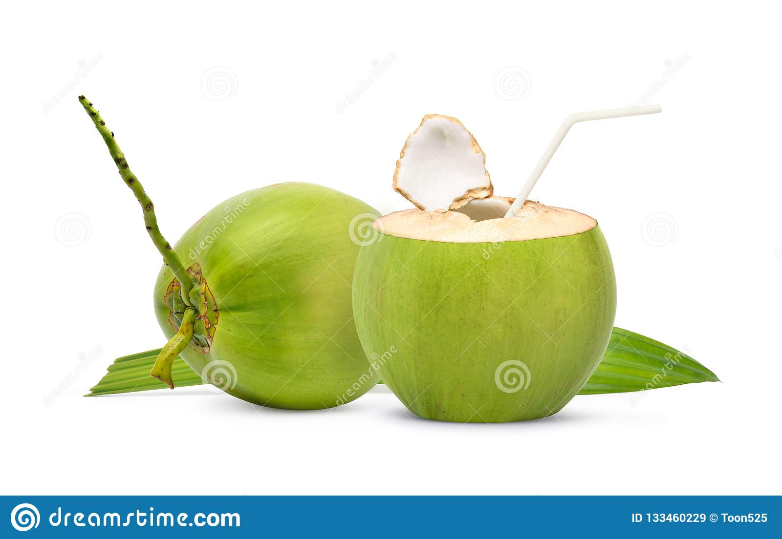 Fresh Green Coconut Ready To Drinking Stock Image