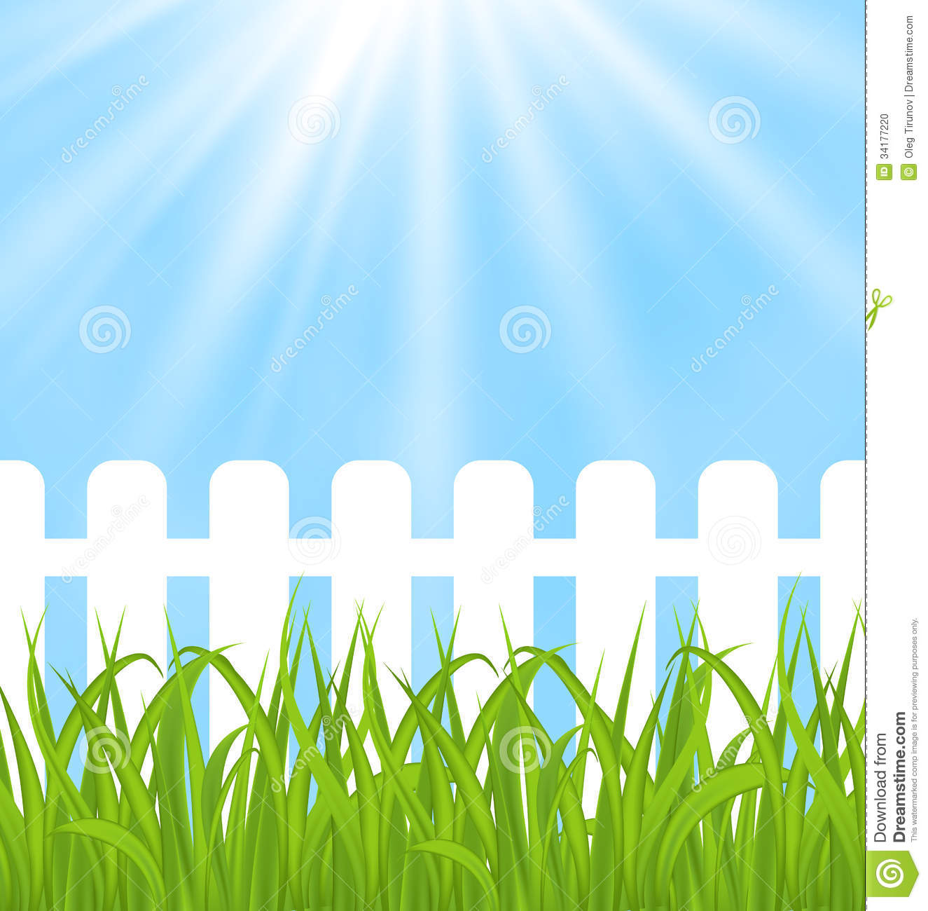 Fresh green grass over wood fence background stock vector for Staccionata dwg