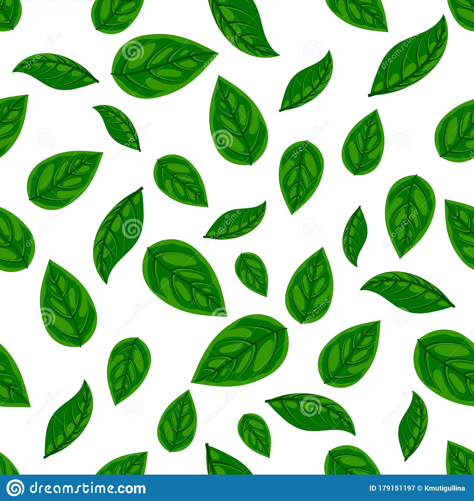 Fresh Green Leaf Seamless Pattern Stock Vector Illustration Of Color Paper 179151197