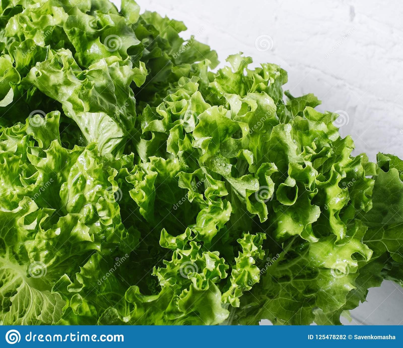 Fresh salad lettuce leaves on a background of white brick wall vertical isolated