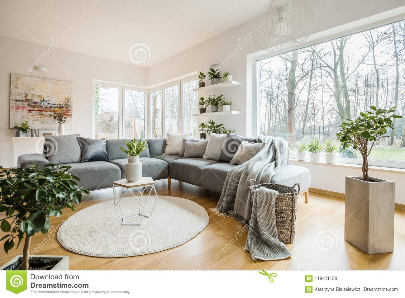 Fresh green plants in white living room interior with corner sofa with pillows and blanket, glass door and small table with tulips