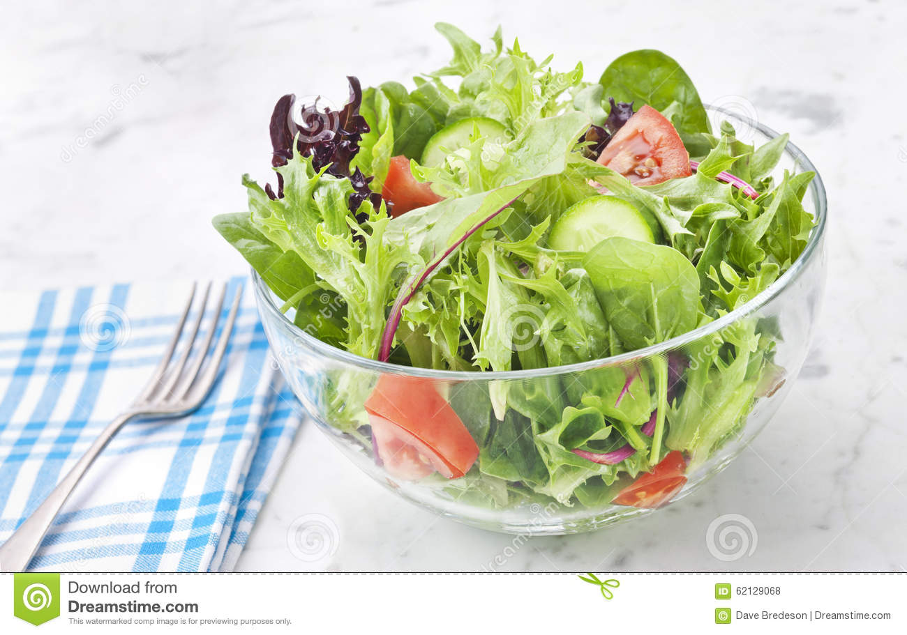 Fresh Green Salad Healthy Food Stock Photo Image Of White Spinach 62129068