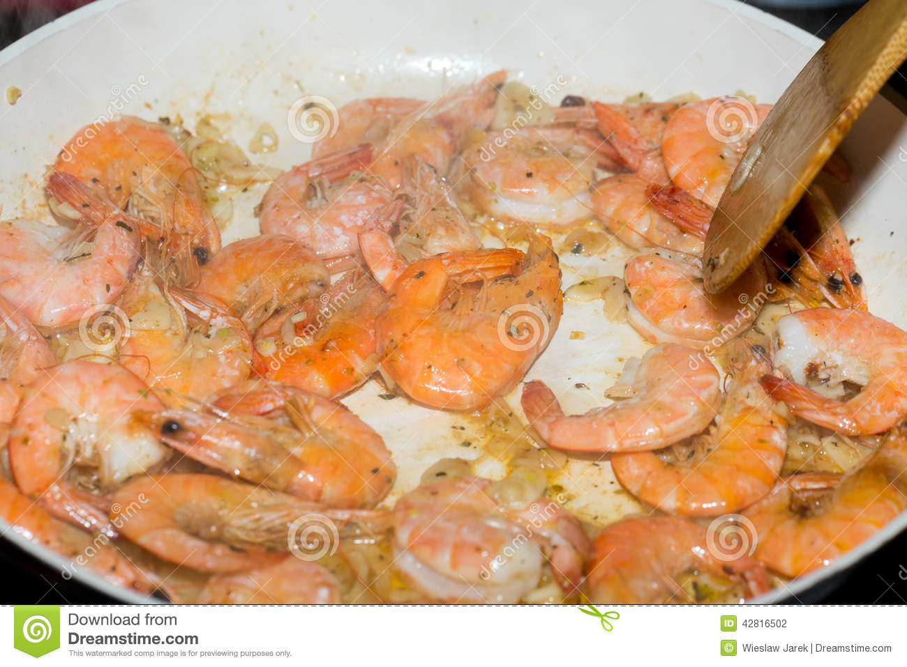 Fresh gulf shrimps stock photo image 42816502 for Frying fish in olive oil