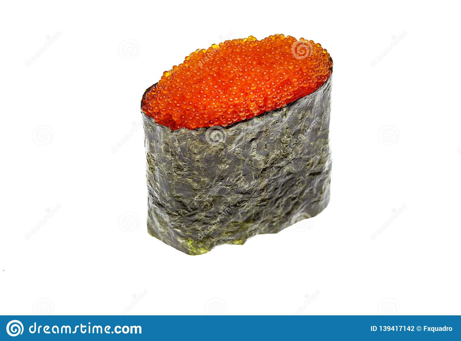 Fresh Gunkan Maki Sushi Rolls With Red Caviar Isolated On A