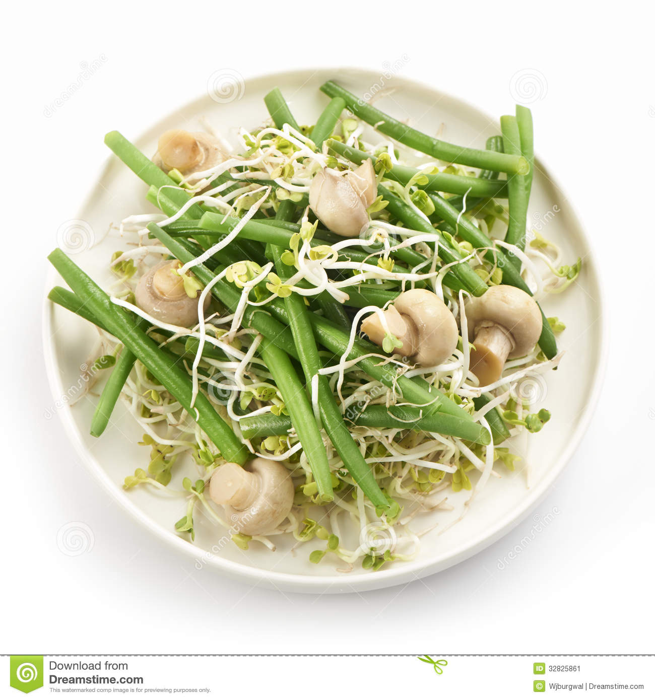 Fresh haricot vert salad with radish sprout and mushrooms served on a ...